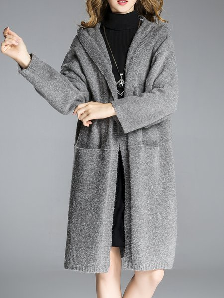 H-line Solid Long Sleeve Casual Slit Cardigan