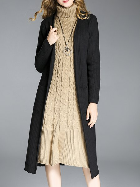 Long Sleeve H-line Casual Ribbed Cardigan