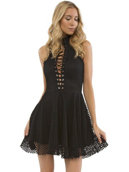 Black A-line Lace Up Sexy Mini Dress