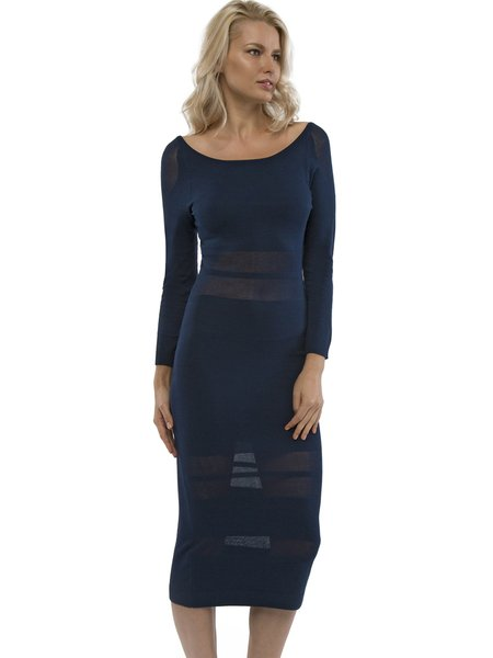 Navy Blue Knitted Sheath Sexy Sweater Dress