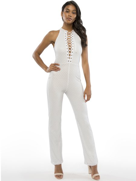 White Lace Up Nylon Sleeveless Jumpsuit