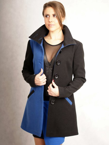 Color-block Wool Long Sleeve Casual H-line Coat