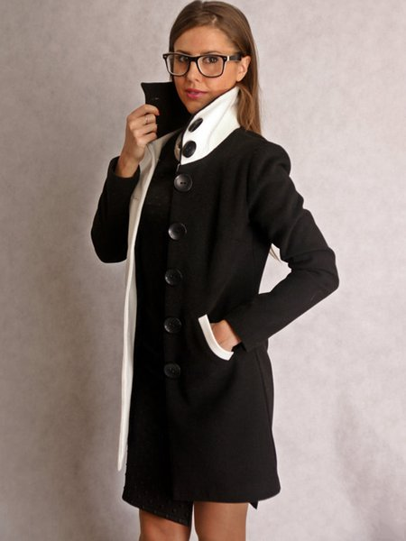 Black-white H-line Wool Casual Color-block Coat