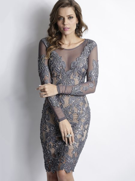 Gray lace cocktail dress