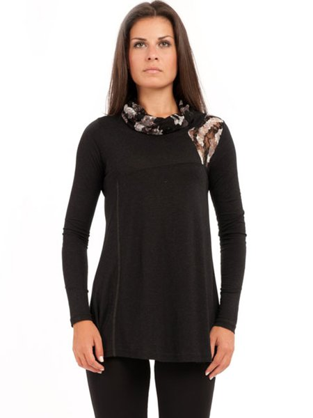 Black Turtleneck Lace Detail Long Sleeved Top