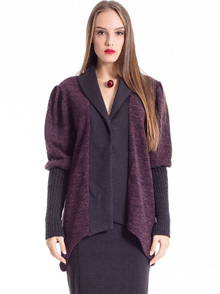 Black-purple Lapel Color-block Wool Blend Casual Cardigan