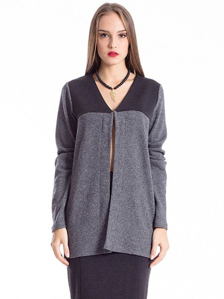 Deep Gray Color-block Knitted H-line Long Sleeve V Neck Cardigan