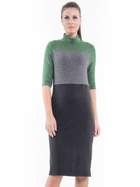 Multicolor Color-block Casual Knitted Hand Made Turtleneck Midi Dress