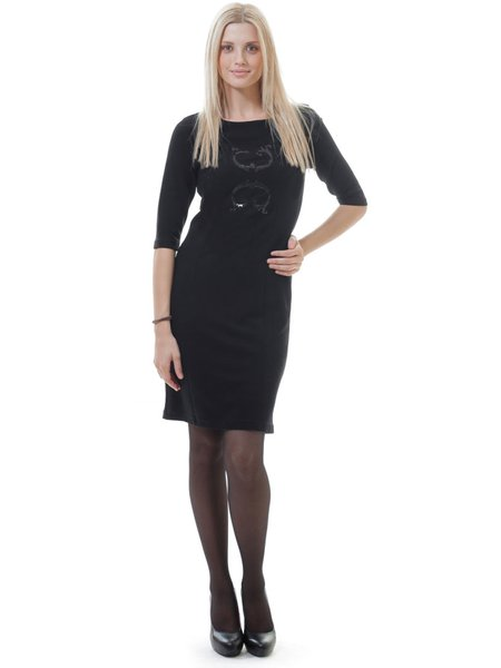 Black Sheath Casual Solid Hand Made Midi Dress