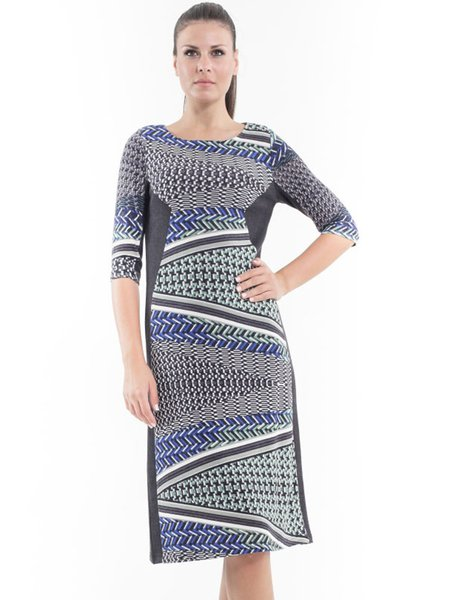Paneled Geometric Casual Half Sleeve Midi Dress