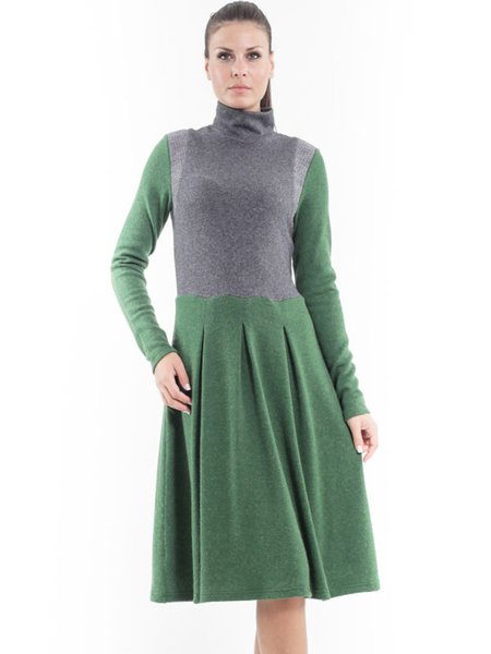 Green Color-block Long Sleeve A-line Knitted Midi Dress