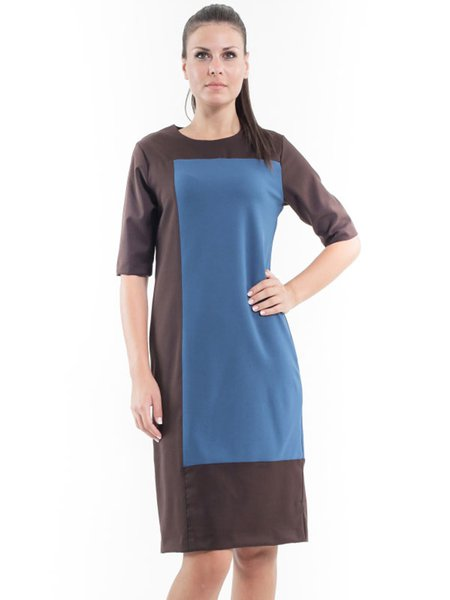 Color-block Casual H-line Half Sleeve Midi Dress