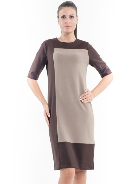 Camel Crew Neck Half Sleeve Color-block Midi Dress