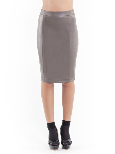 Gray Bodycon Solid Sexy Hand Made Midi Skirt