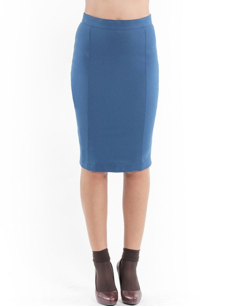 Blue Bodycon Hand Made Solid Casual Midi Skirt