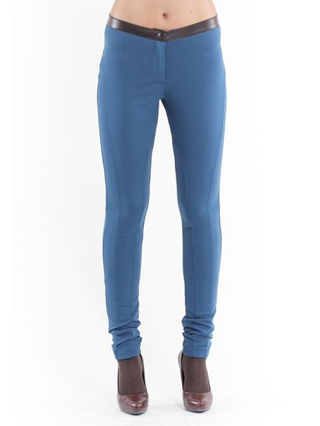Blue Casual Hand Made Skinny Leg Pant