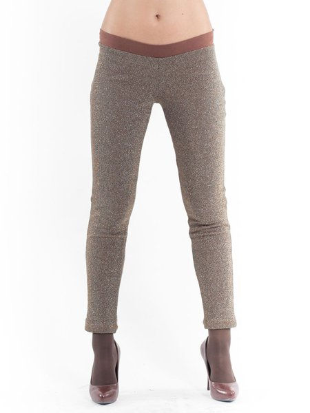 Brown Casual Plain Knitted Leggings