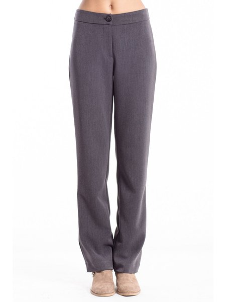 Deep Gray Solid Wool Blend H-line Casual Straight Leg Pants