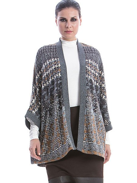 Multicolor H-line 3/4 Sleeve Printed Houndstooth Knitted Cardigan