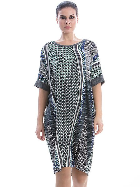 Gray Half Sleeve Shift Geometric Printed Midi Dress