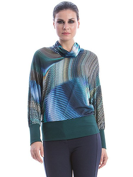 Multicolor Casual Crew Neck H-line Abstract Printed Long Sleeved Top