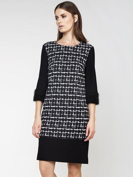 Black Printed Paneled H-line 3/4 Sleeve Midi Dress