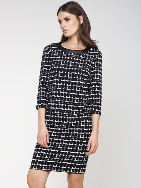 Black H-line Printed Casual Midi Dress
