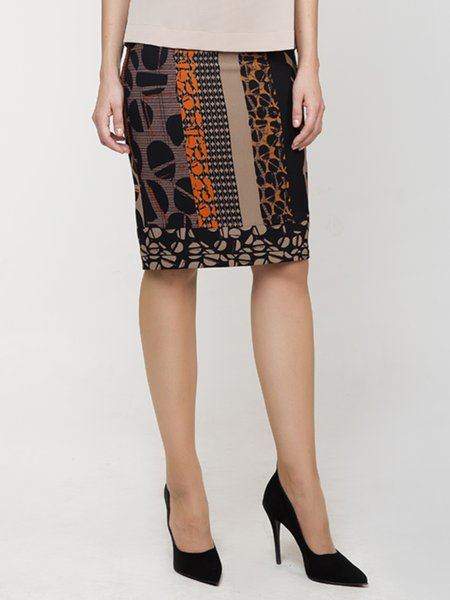 Brown Geometric Printed Elegant Pencil Skirt