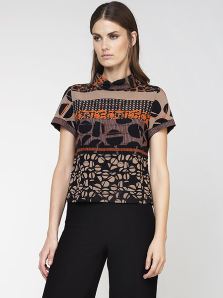 Brown Geometric Printed Short Sleeved Top