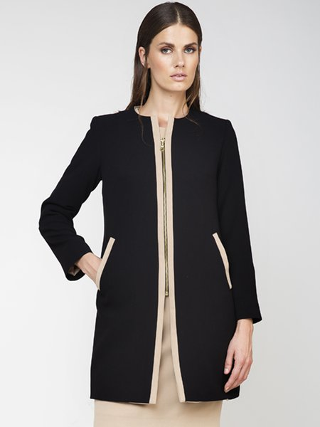 Black Zipper Woven Long Sleeve Blazer