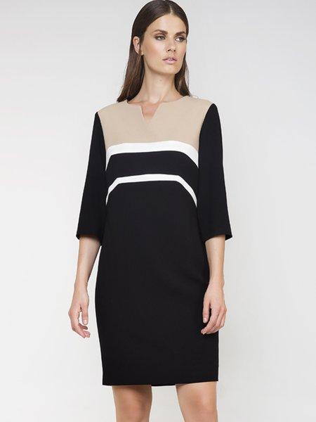 Black V Neck H-line 3/4 Sleeve Color-block Midi Dress