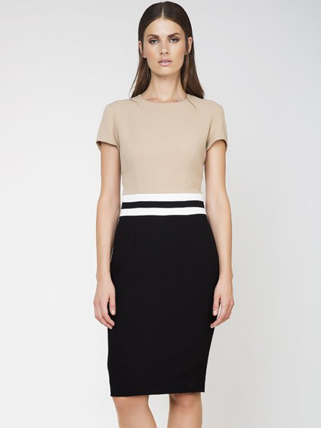 Beige Crew Neck Short Sleeve Color-block Midi Dress