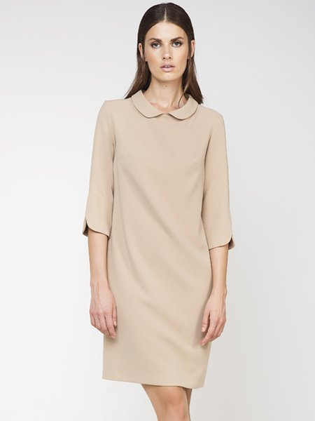 Beige Woven Simple Peter Pan Collar Midi Dress