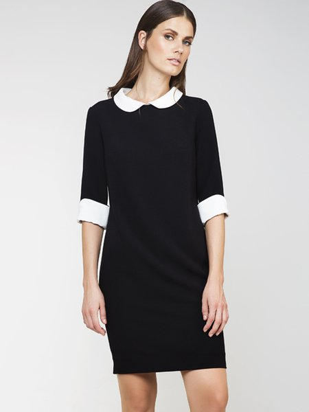 Black 3/4 Sleeve Peter Pan Collar H-line Color-block Midi Dress