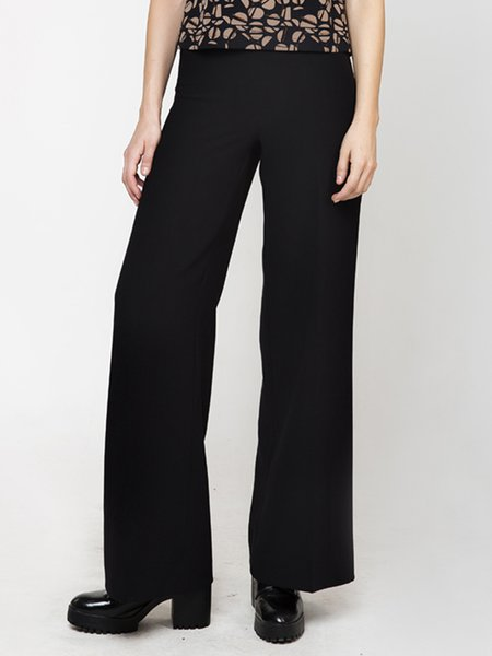 Black Woven Simple Plain Wide Leg Pants