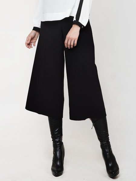 Black Solid Woven Simple Wide Leg Pants