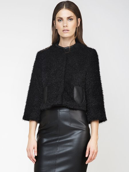 Black Fluffy Solid Pockets Elegant Cropped Jacket