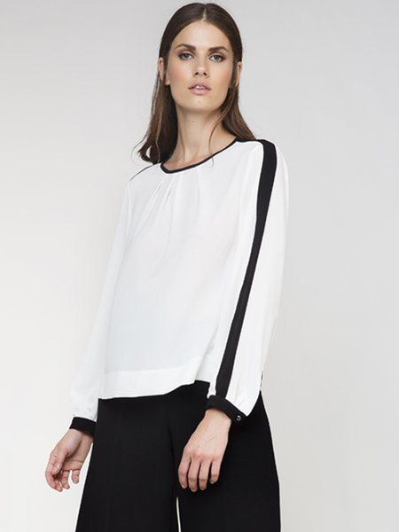 White Piping Crew Neck Woven Long Sleeved Top