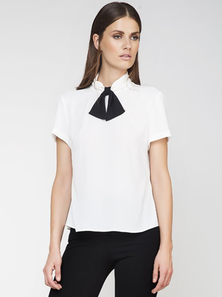 White Bow Stand Collar Girly Short Sleeved Top