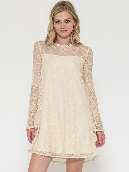 Ivory Shift Plain Girly Bateau/boat Neck Long Sleeve Lace and Bead Embroidery Mini Dress