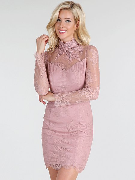 Pink Hand Made Sexy Floral Turtleneck Sheer Lace Dress Mini Dress