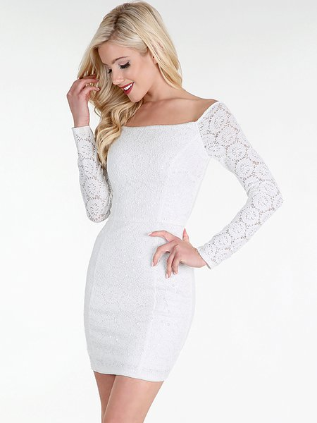 White Sequined Lace Off Shoulder Sexy Bodycon Cotton-blend Mini Dress
