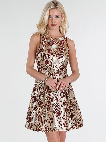 Vintage A-line Sleeveless Floral Jacquard Mini Dress