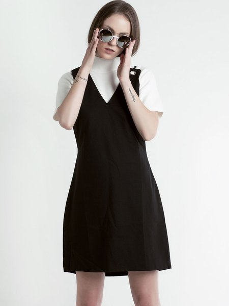 Black Asymmetric Sleeveless Overall Mini Dress