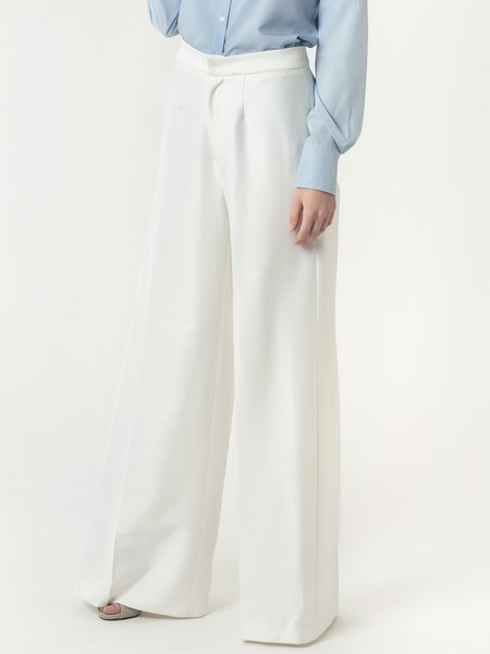 White Elegant Solid Cotton-blend Wide Leg Pants