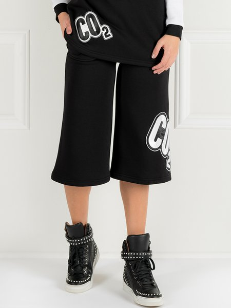 Black Appliqued Simple Cotton-blend Cropped Pants
