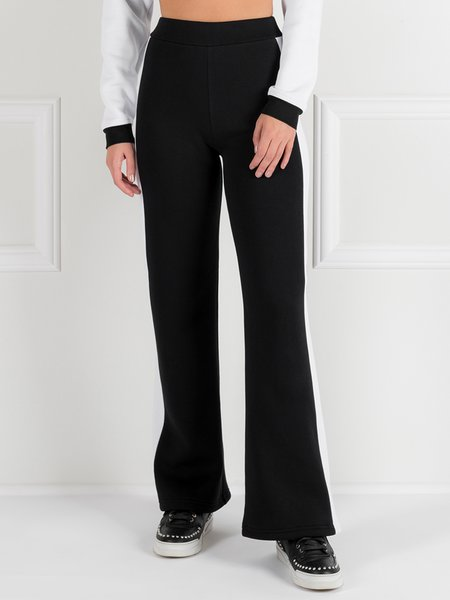 Black Simple Color-block Straight Leg Pants