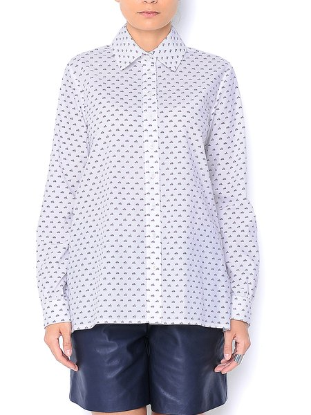 Cotton Long Sleeve Printed Casual Blouse