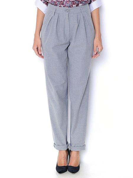 Light Gray Wool Blend Casual Straight Leg Pants