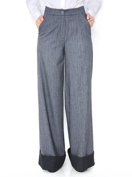 Deep Gray Plain Casual Wool Blend Wide Leg Pants